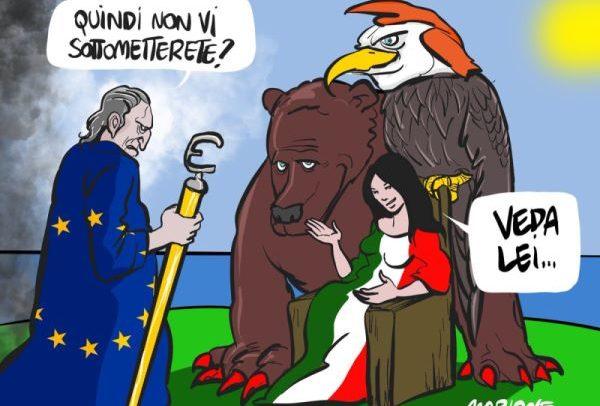 """Una vignetta satirica del disegnatore Mario Improta, noto come """"Marione"""""""